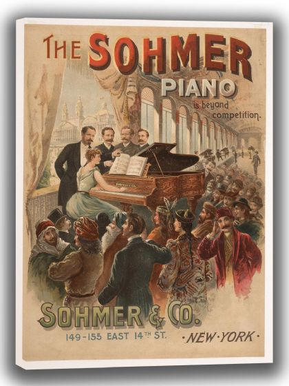 The Sohmer Piano (Sohmer & Co. New York). Vintage Advertising Canvas. Sizes: A4/A3/A2/A1 (004039)